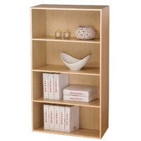 FURINNO 4 Tier Open Shelf Bookcase, Steam Beech, 11209SBE