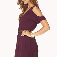 Cold Shoulder Shift Dress w/ Belt | FOREVER 21 - 2000092004