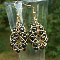 Black Glass Pearl and 24k Gold Plated Metal Bead Earrings
