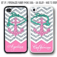 PERSONALIZED PINK CHEVRON BLUE ANCHOR Best Friends FOR iPhone 4 4S 5 5S 5C CASE