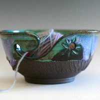 READY TO SHIP, Yarn Bowl, handmade stoneware pottery,handmade ceramic yarn bowl