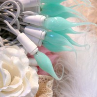 Aqua Cotton Candy Candylights Hand Dipped by forgetmenotdreams