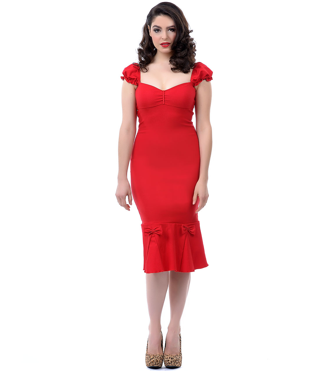 The Jessica Wiggle Dress In Vintage Red 74