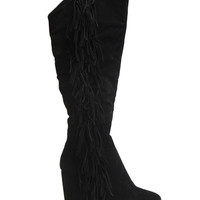 Tall Wedge Fringe Boot | Shop Just Arrived at Wet Seal