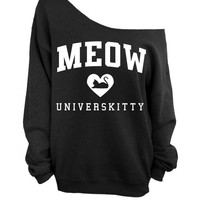 Meow Universkitty Cat Shirt - Black Slouchy Oversized CREW Sweatshirt