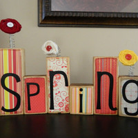Spring and Easter decoration made of Wood by FayesAttic11 on Etsy