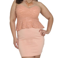 Lace 2fer Peplum Dress | Shop Jr. Plus at Wet Seal