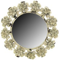 "12 1/2"" Assorted Rose Metal Round Mirror 