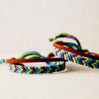 Friendship Bracelet Set for Friends or Couples Green Turquoise and Purple