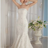 Beading Mermaid Strapless Chapel Train Lace Wedding Dress