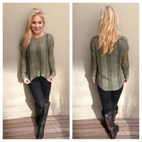 Olive & Black Knit Sweater Top
