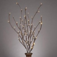 Gerson 36858 39-Inch Electric Brown-Wrapped Lighted Faux Branch with 72 Clear Rice Lights, Set of 3