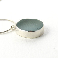 Sea Glass Necklace Pendant  Pale Seafoam, JULIETTA