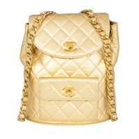 Chanel Vintage Gold Quilted Backpack
