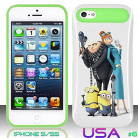 USA Design #6 - IPhone 5 5S Glow in Dark Case # Minions despicable me 2 @ Cover for IPhone 5 5S