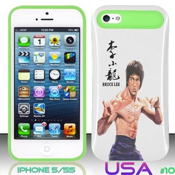 USA Design #10 - IPhone 5 5S Glow in Dark Case # Legend Bruce Lee @ Cover for IPhone 5 5S Cover