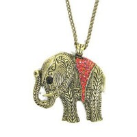 Elephant Necklace Ruby Red Crystal Animal Ethnic Tribal Vintage Charm Pendant