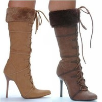 "Women's 433-Viking 4"" Heel Knee High Boot With Fur"