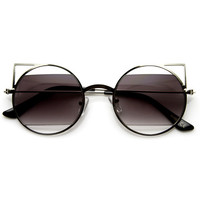 Designer Inspired Womens Round Cat Eye Sunglasses 9122