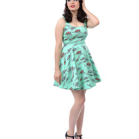 Mint Green Car Print Fit N Flare Dress - Unique Vintage - Prom dresses, retro dresses, retro swimsuits.