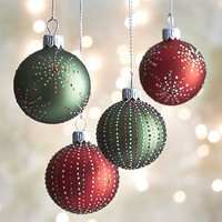 Dot Burst and Stripe Ball Ornaments