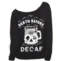 Death Before Decaf Raglan - PYKNIC | YOUNG & HUNGRY