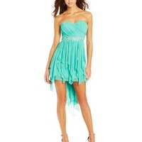 My Michelle Juniors Strapless High-Low Dress with Detailed Waist Band, Mint, 9