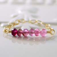 NEW Pink Tourmaline Ring, Stacking, Gold Chain Ring, Semiprecious Row, Shaded Ombre, October Birthstone Jewelry, Size 7, Free Shipping