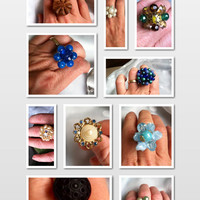 Handmade Statement Ring, cocktail rings, vintage ring, cluster earring, upcycled jewelry