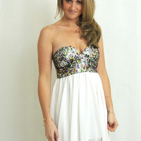 Cloud Nine Sequin Dress - White + Multi -  $65.00 | Daily Chic Dresses | International Shipping