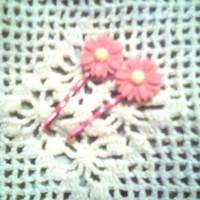 Pink Daisy Bobby Pins Handmade set of 2