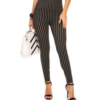 Black/Ivory Striped Leggings