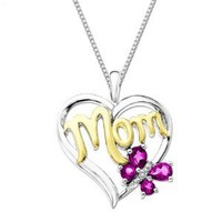 Created Pink Sapphire and Diamond-Accent Butterfly Mom Heart Pendant, 18""