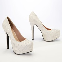 Crepe Platform Pump with Flatback Crystals - David's Bridal - mobile