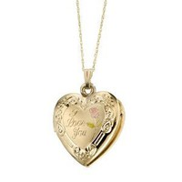 "Duragold 14k Yellow Gold ""I Love You"" Heart Locket with Pink Rose Pendant, 18"""