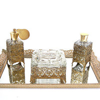Elegant Hollywood Regency Vanity Set by DeidresRedos on Etsy