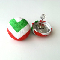 Red and green chevron Christmas fabric button earrings