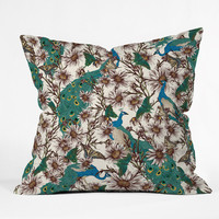 DENY Designs Home Accessories | Belle13 Butterflies In My Peacock Garden Throw Pillow
