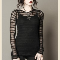 RAVEN'S LACE NET LONG GOTHIC SHIRT