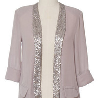 Trendy and Cute tops - Chloe Loves Charlie - Split Silver Jacket - chloelovescharlie.com | $42.00
