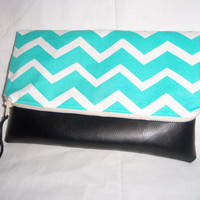 20% OFF Use code- 20OFF- Choose Your Chevron & Black Vegan Leather Fold Over Clutch- Diaper Clutch