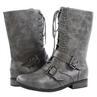 Bumper Freda01 Gray Lace Up Belt Buckle Military Flat Ankle Boots and Womens Fashion Clothing & Shoes - Make Me Chic