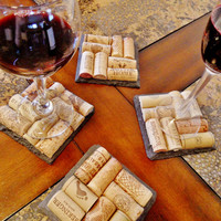 Slate Wine Cork Coasters (Set of 4) Christmas, Wedding, Engagement, Anniversary