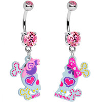 Pink Gem Sugar Skull Best Friends Dangle Belly Ring Set | Body Candy Body Jewelry