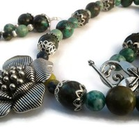 Silver Pewter Flower Green Magnesite Green Jade Necklace Earring Set