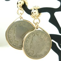 Liberty V Nickel Coin Earrings 14kt Gold filled