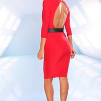 Red 3/4 Sleeve Dress with Plunging Neckline & Cutout Back