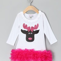 Christmas White Pink Reindeer Ruffle Dress - Available in Infant, Toddler & Girls - Whimsical & Unique Gift Ideas for the Coolest Gift Givers