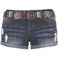 Blue Spice Aztec Belted Shorts