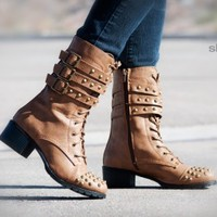 Bumper Teka-17 Buckle Studded Mid Calf Combat Boot (Taupe) - Shoes 4 U Las Vegas